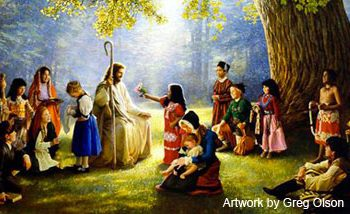 Jesus and the little children by Greg Olson